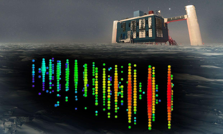 Illustration of neutrinos beneath the IceCube Neutrino Observatory