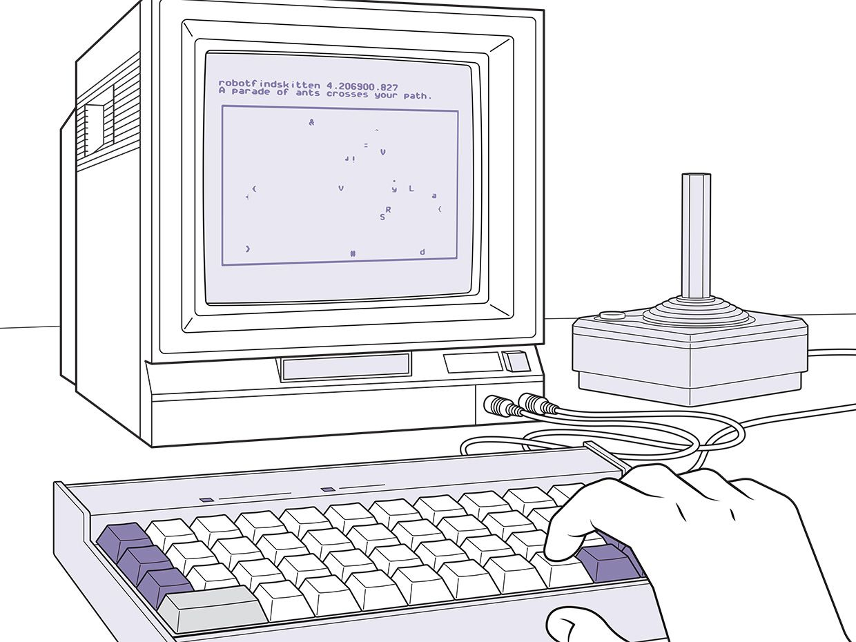 Illustration of old computer monitor, keyboard and joystick, with hand on keyboard.