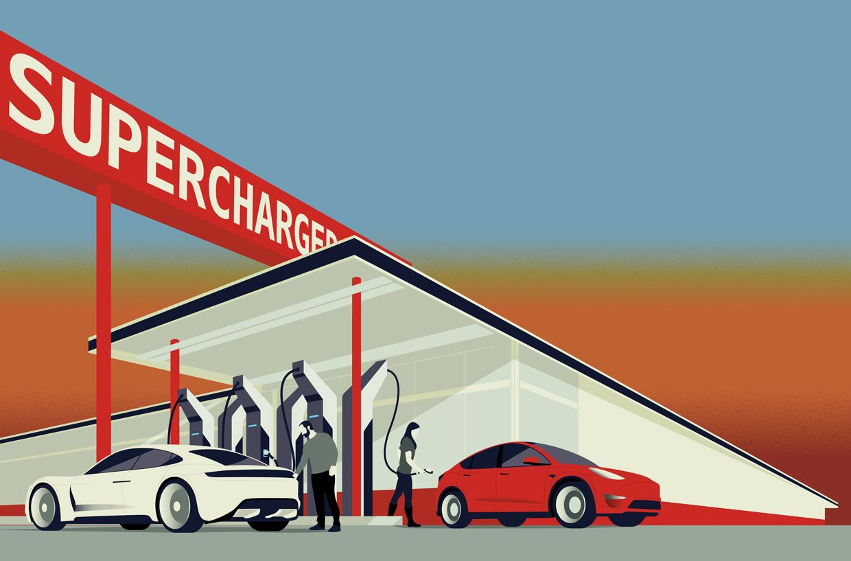 Illustration of people charging their cars at a charging station.