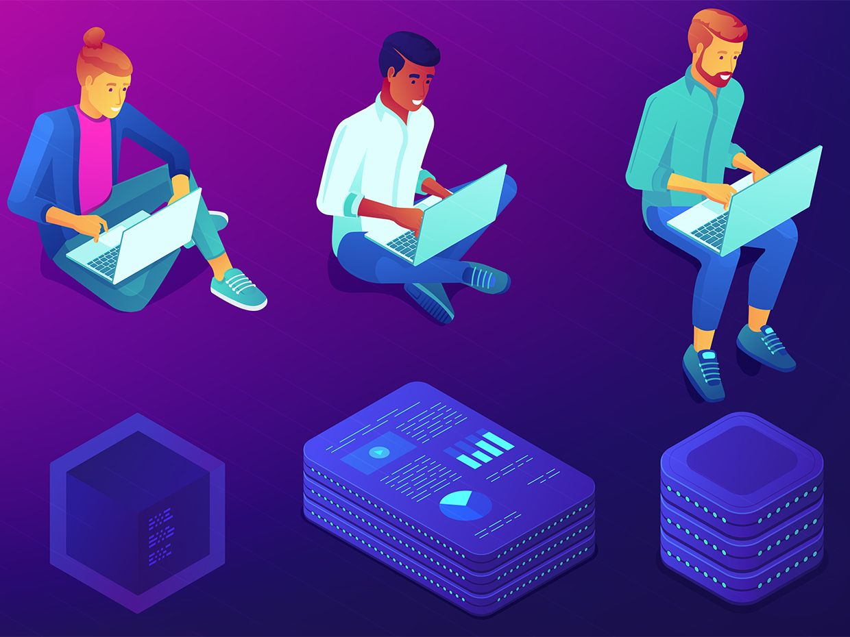 Illustration of people working on computers, with icons relating to the blockchain.
