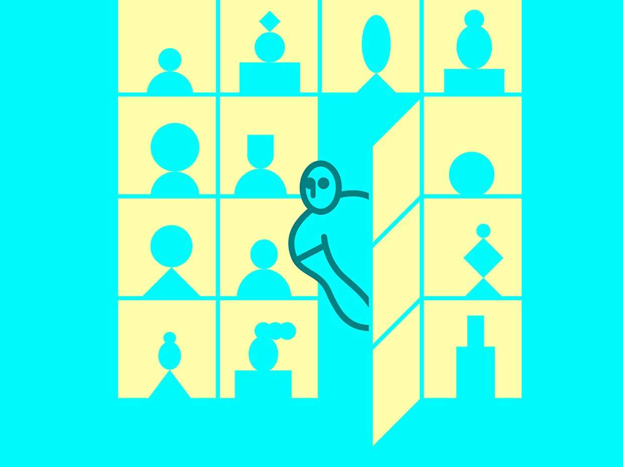 Illustration of person looking out the opened door of a zoom grid screen.