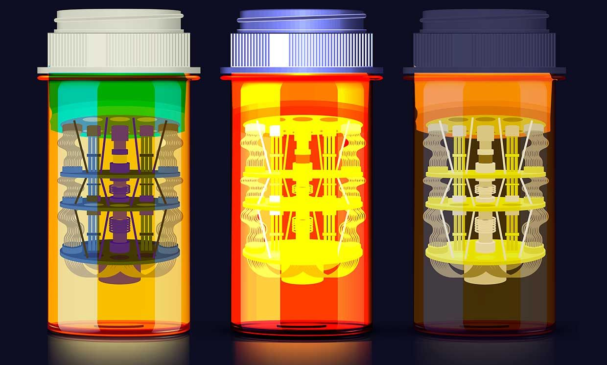 Illustration of pill bottles with quantum computer technology inside