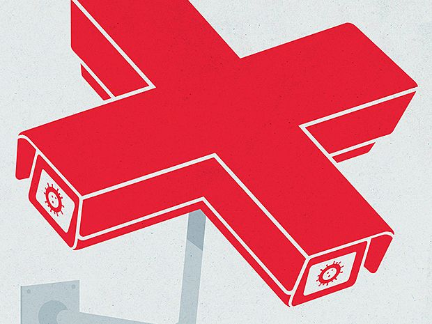Illustration of red cross-shaped security camera.