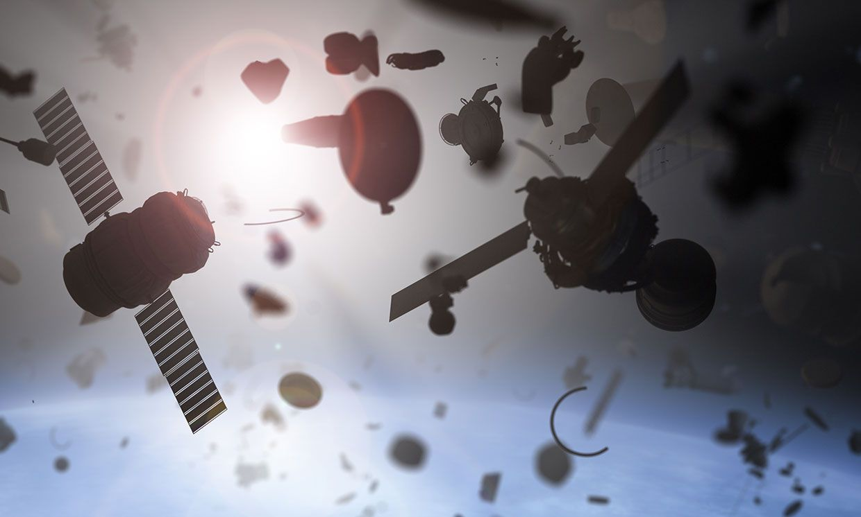 Illustration of space debris over the Earth.