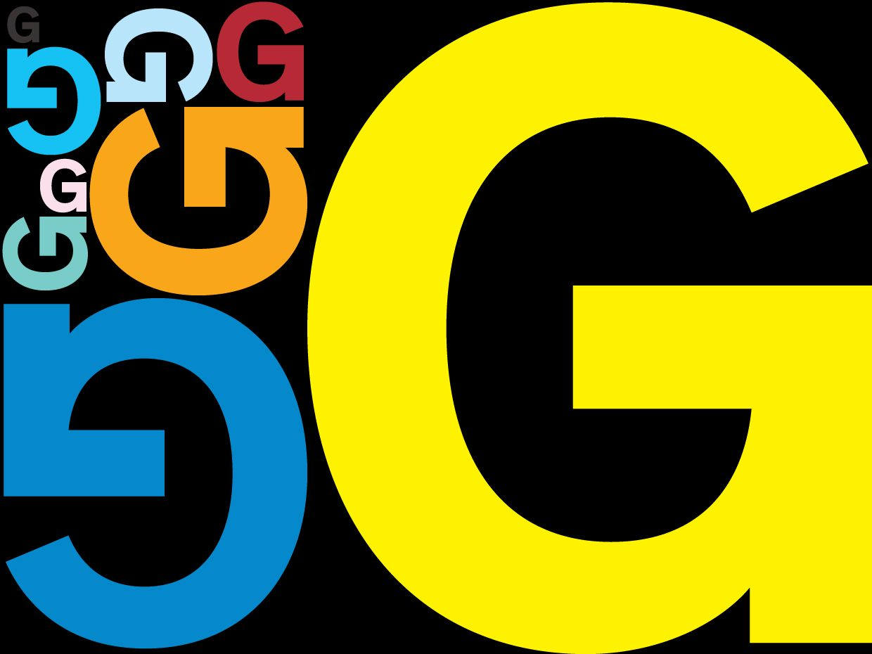 Illustration of the letter G in many sizes and colors