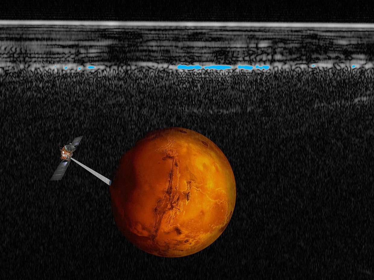 Illustration of the Mars Express spacecraft superimposed on a radar cross section of the southern polar layered deposits of Mars.
