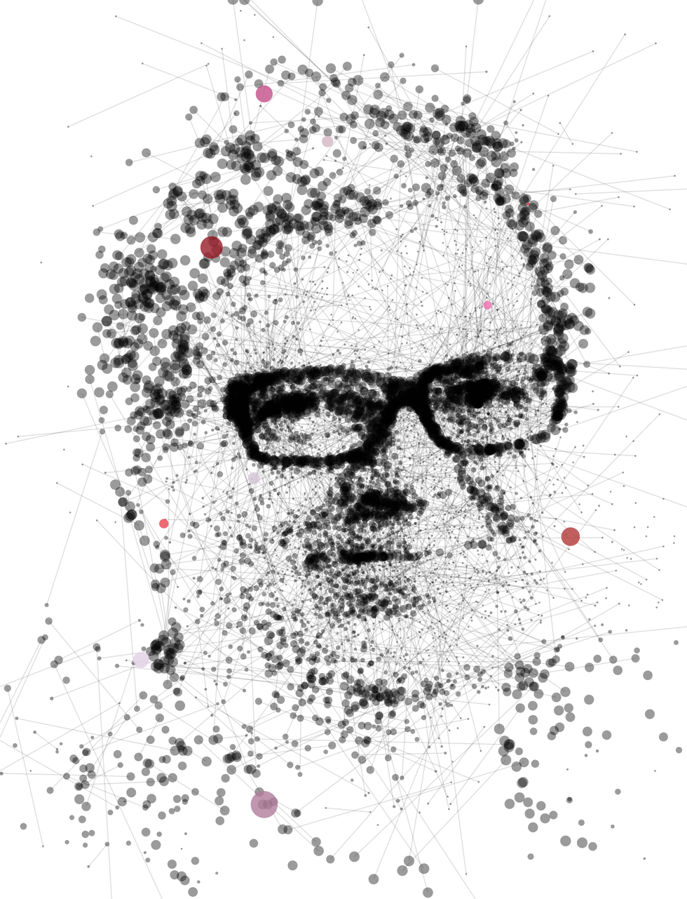Illustration of Yann LeCun made of dots and lines.