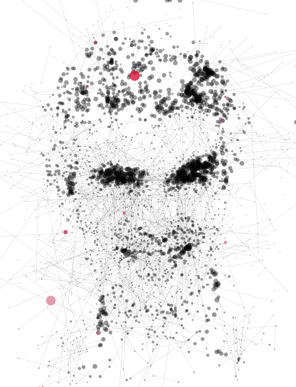 Illustration of Yoshua Bengio made of dots and lines.
