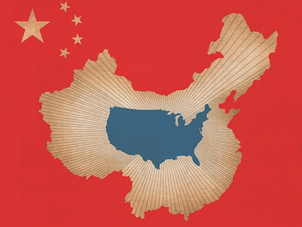 illustration showing maps of China and U.S.