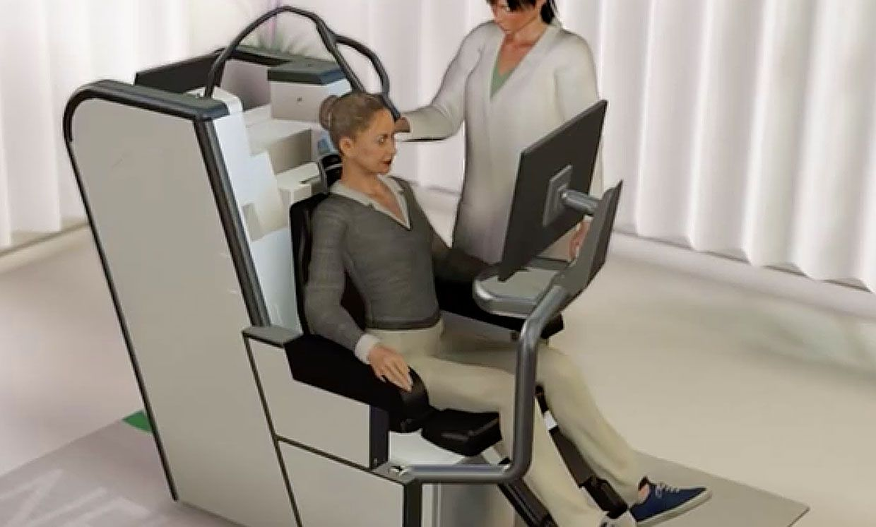 Illustration showing Neuronix's NeuroAD machine with a patient sitting in it, and a medical professional next to her.