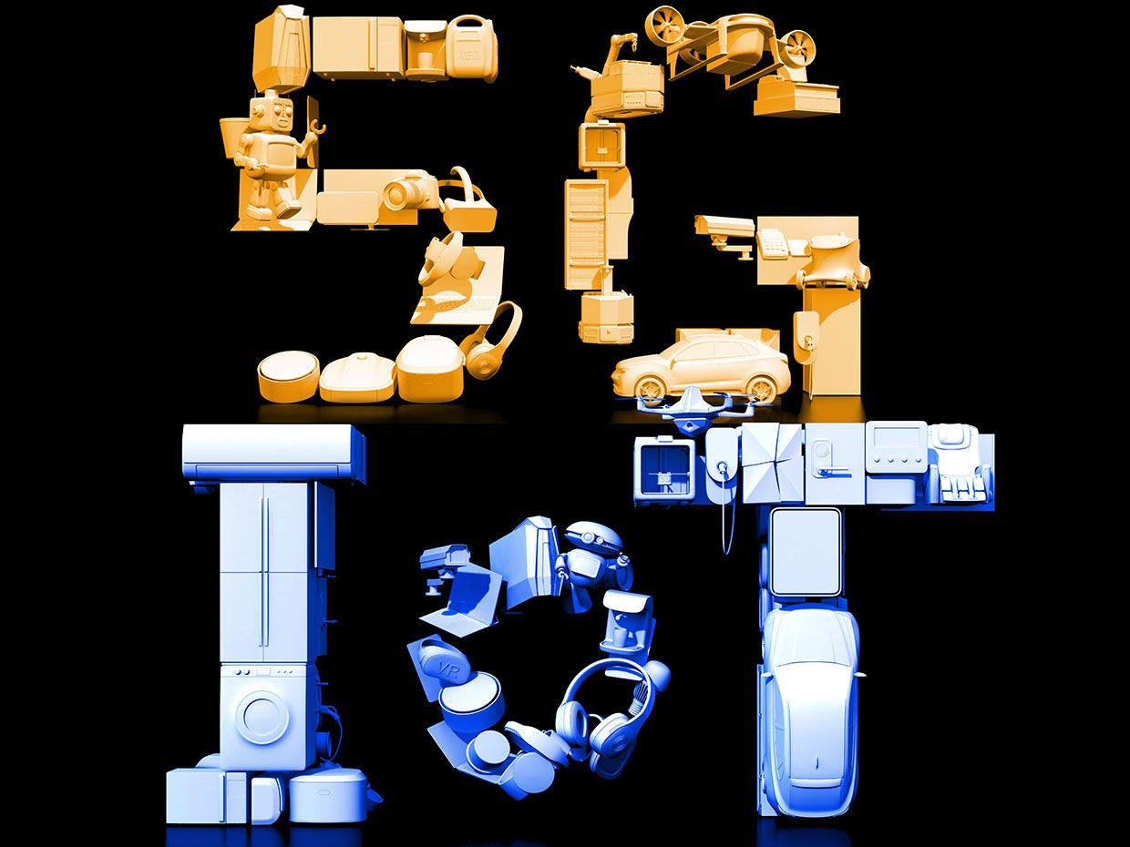 Illustrations of the letters 5G and IoT made up of device.