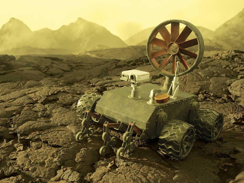 Image of a future Venus rover on Venus.