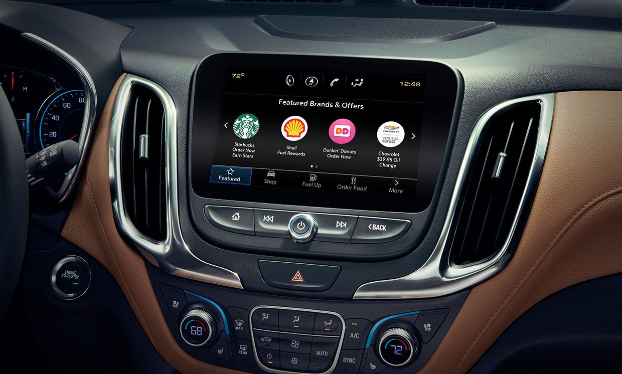 Image of a GM dashboard with different food and drink ordering options.