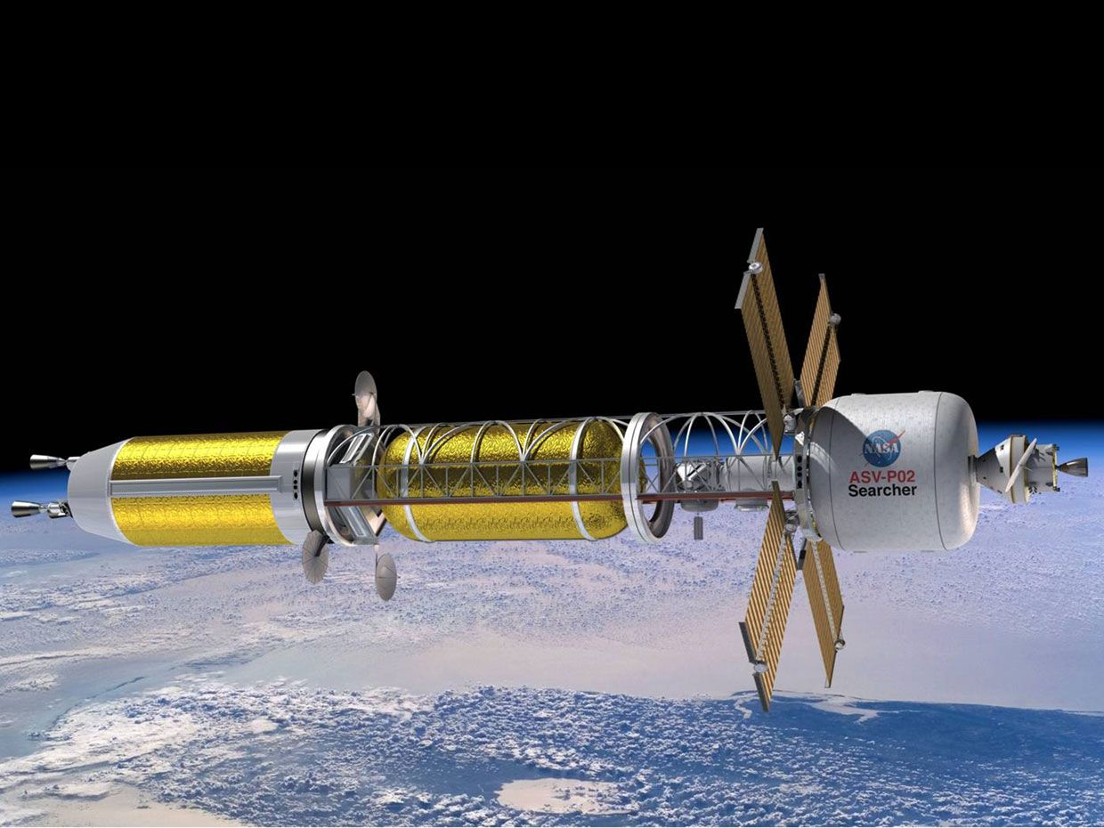 Image of a nuclear powered rocket in space.