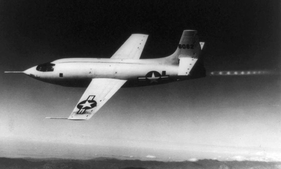 Image of Chuck Yeager piloting the Bell X-1 rocket plane in 1947.