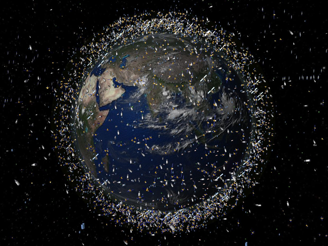 image of Earth from space showing orbital debris
