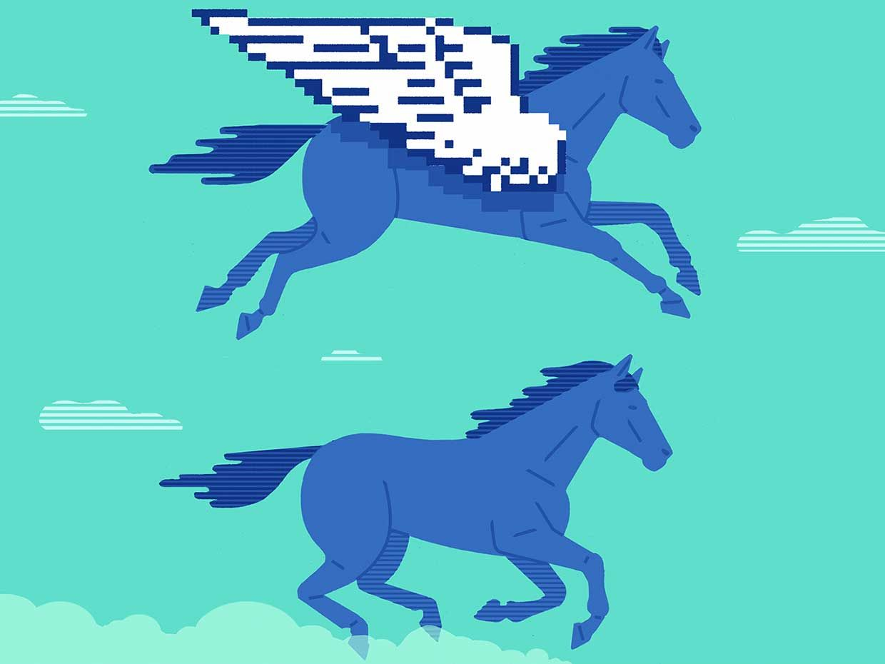 Image of horses flying through the sky.