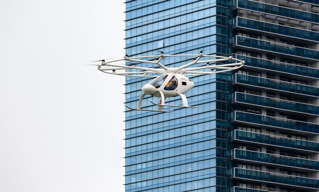 Image of the Volocopter in flight