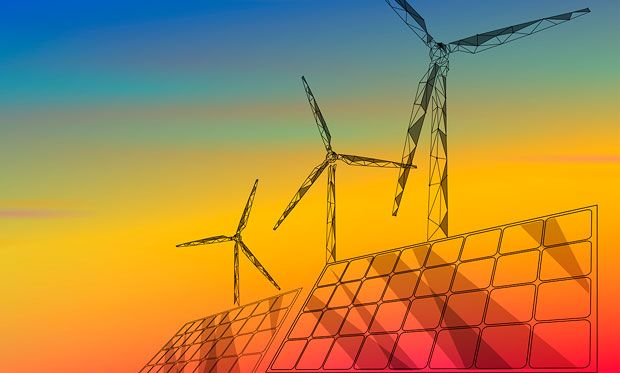 Image of wind mills and solar panels on a rainbow gradient background.