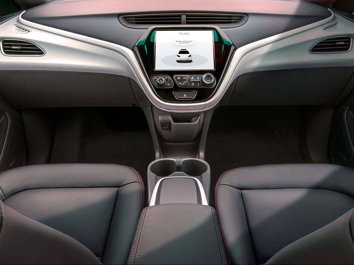 Image showing GM's Cruise vehicle without a steering wheel.