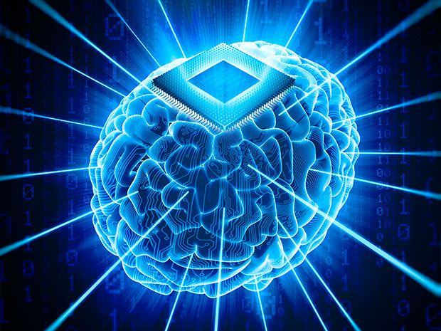 Image shows a brain with an electronic implant
