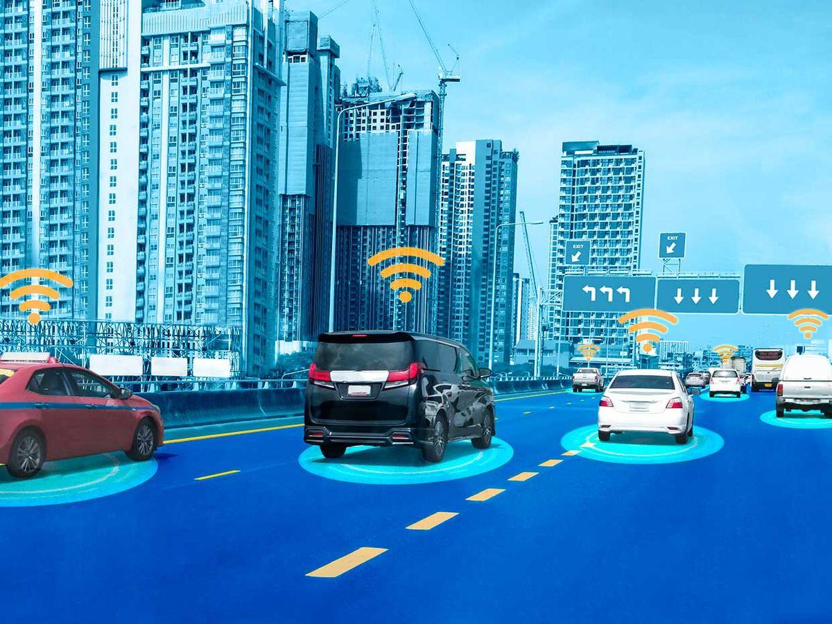 Conceptual photo illustration of an autonomous car sensor system.
