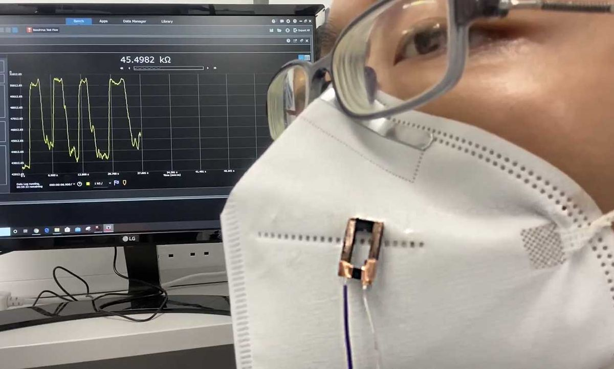 Still from a video showing the University of Cambridge researchers fiber sensor in testing.