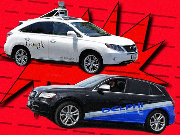 Google and Delphi Robocars Meet on the Road
