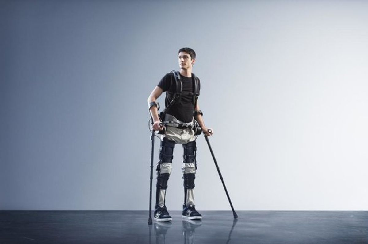 A man wearing the Phoenix exoskeleton by SuitX.