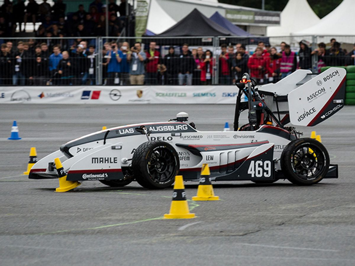 photo of UAS Augsburg's driverless car on track during Formula Student Germany competition