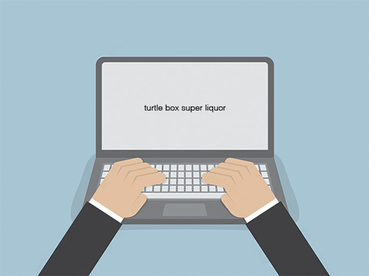 A photo illustration shows two hands resting on a keyboard of a laptop computer with the words 'turtle box super liquor' written on the screen as one example of a password.