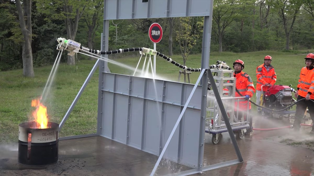 Using steerable jets of water like rockets, this robot snake can fly into burning buildings to extinguish fires