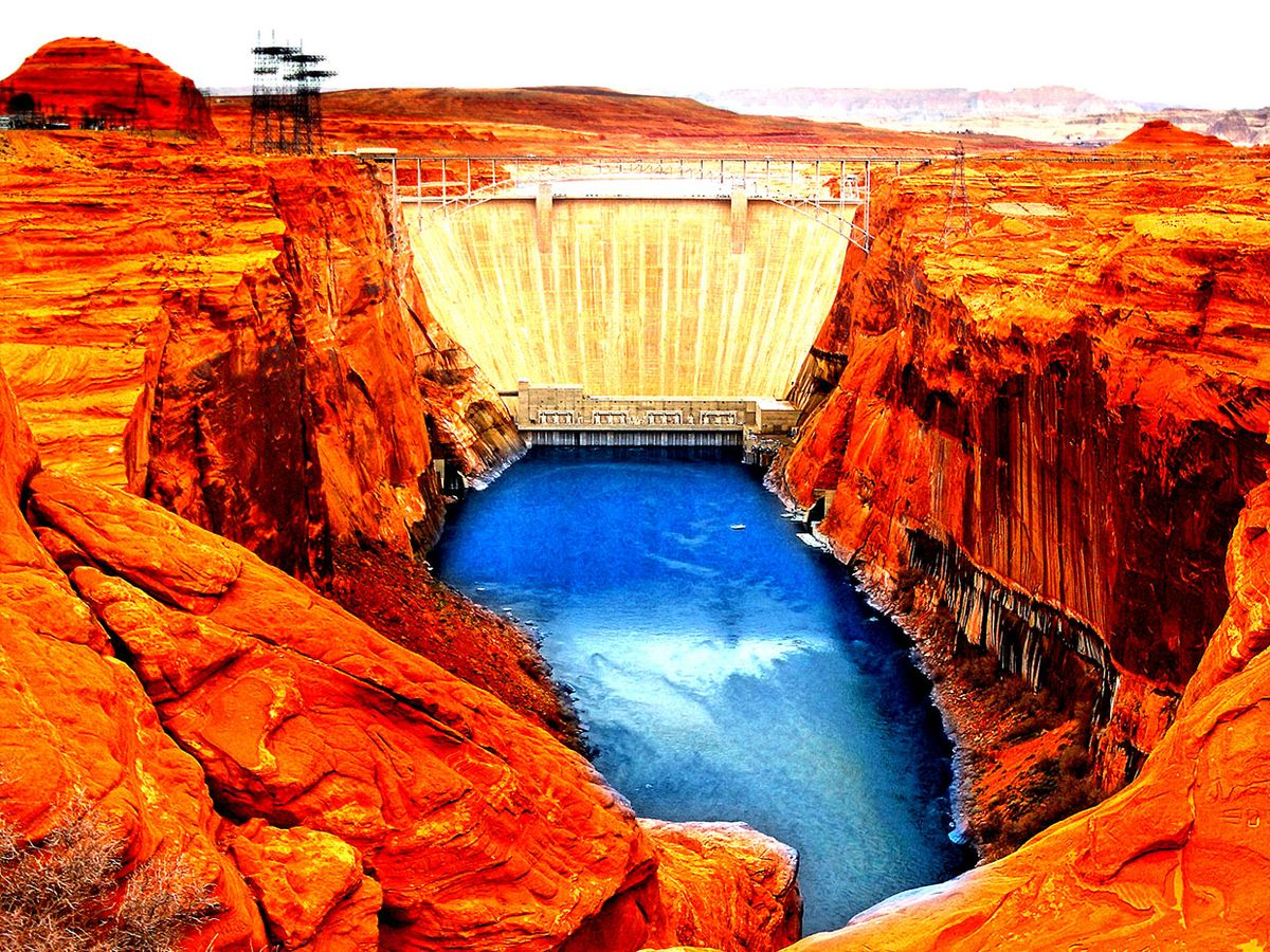Photograph of the Glen Canyon Dam, altered in Photoshop to look more otherworldly and dangerous.