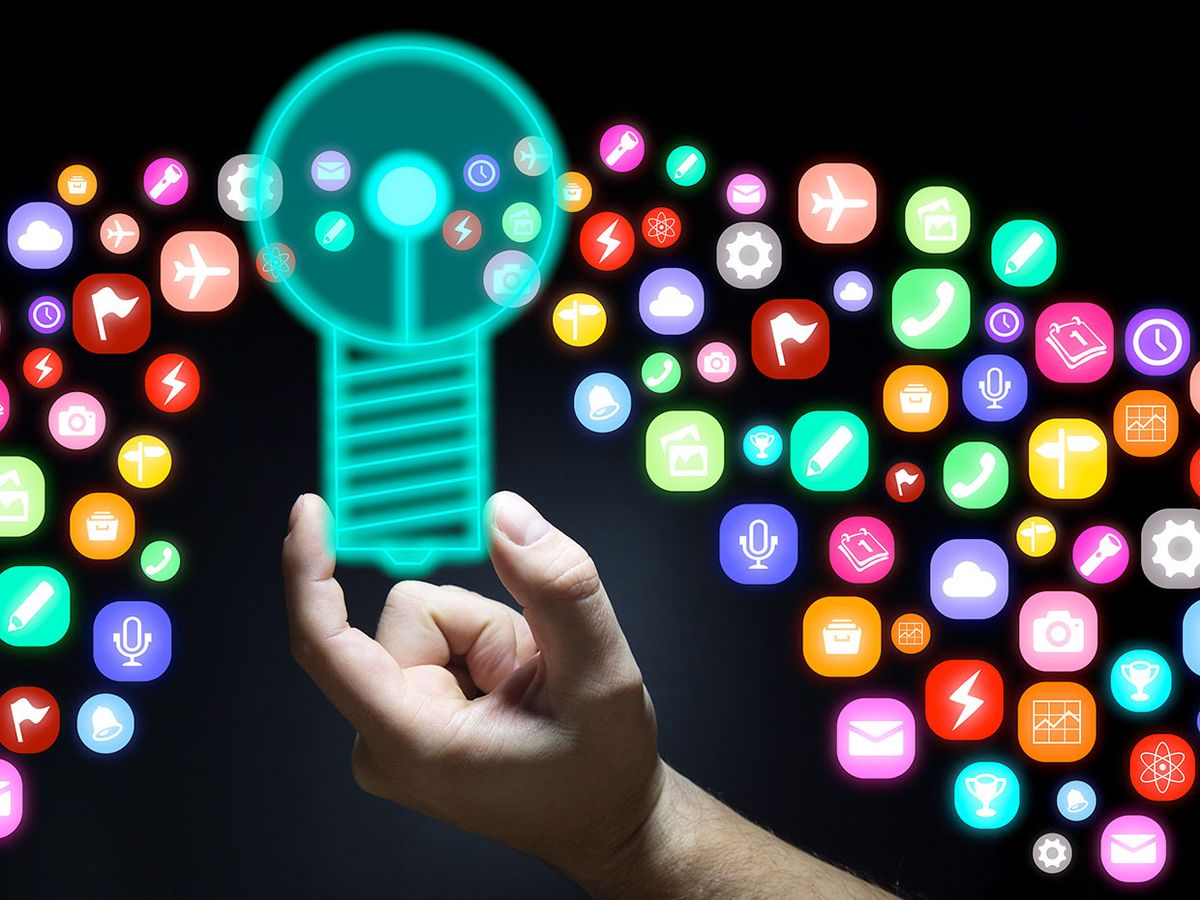 A lightbulb surrounded by app icons.