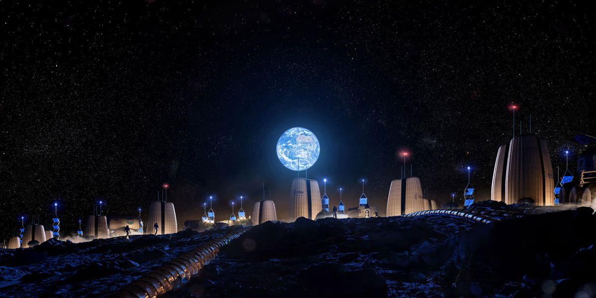 An artist's rendering shows Skidmore, Owings & Merrill's vision for an expanding lunar colony.