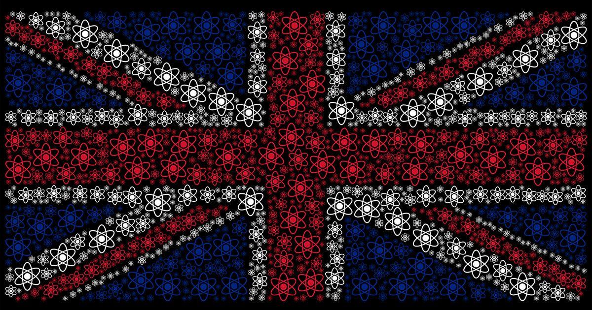 UK flag designed of atom pictograms on a dark background.