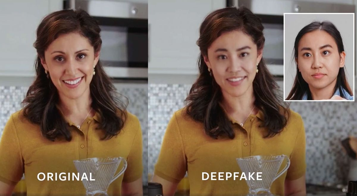 Still from a video showing a woman in a kitchen, the original is on the left, the deepfake on the right, along with an inset image of the woman used for the deepfake.