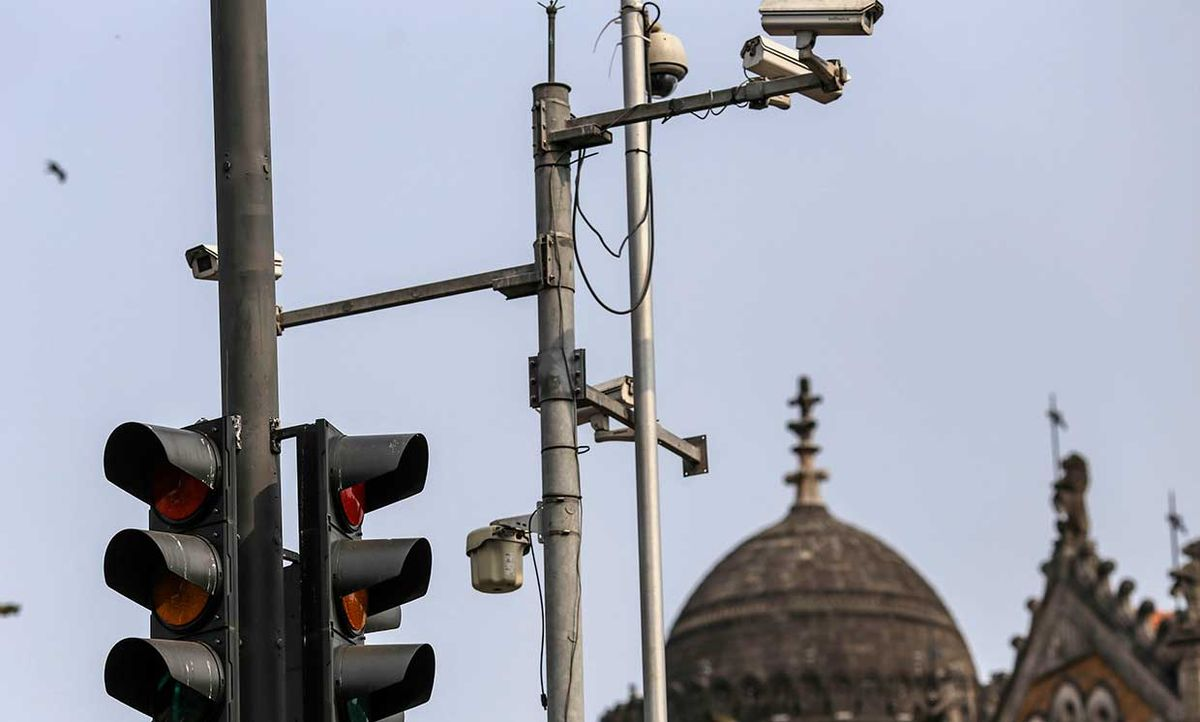 CCTV cameras outside the Chatrapati Shivaji Terminus (CST) railway station in Mumbai, India