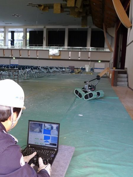 Japanese Robot Surveys Damaged Gymnasium Too Dangerous for Rescue Workers