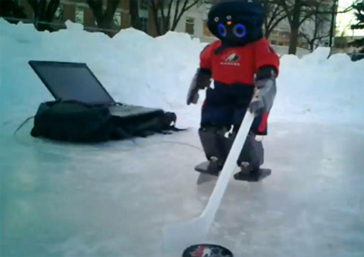 Canadians Teach Darwin-OP Robot to Ice Skate, Play Hockey