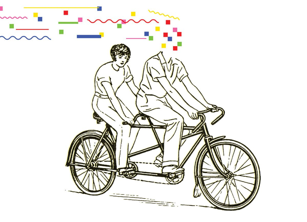 Illustration of two people on a bicycle with the front head covered in squares of colors.