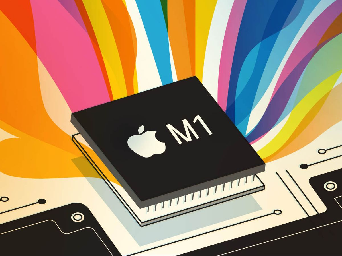 Illustration of a rainbow and Apple M1 chip