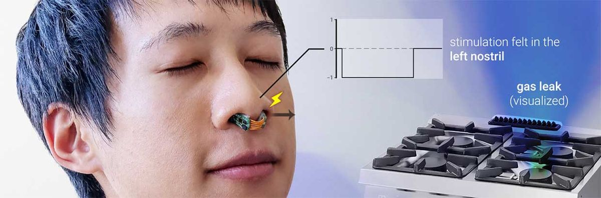 Researchers have developed a way to augment our sense of smell with a small piece of nose-worn hardware that uses tiny electrical impulses to give us the power of directional smell.