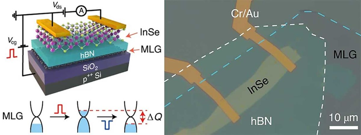 Two-dimensional indium selenide-based floating-gate memory device