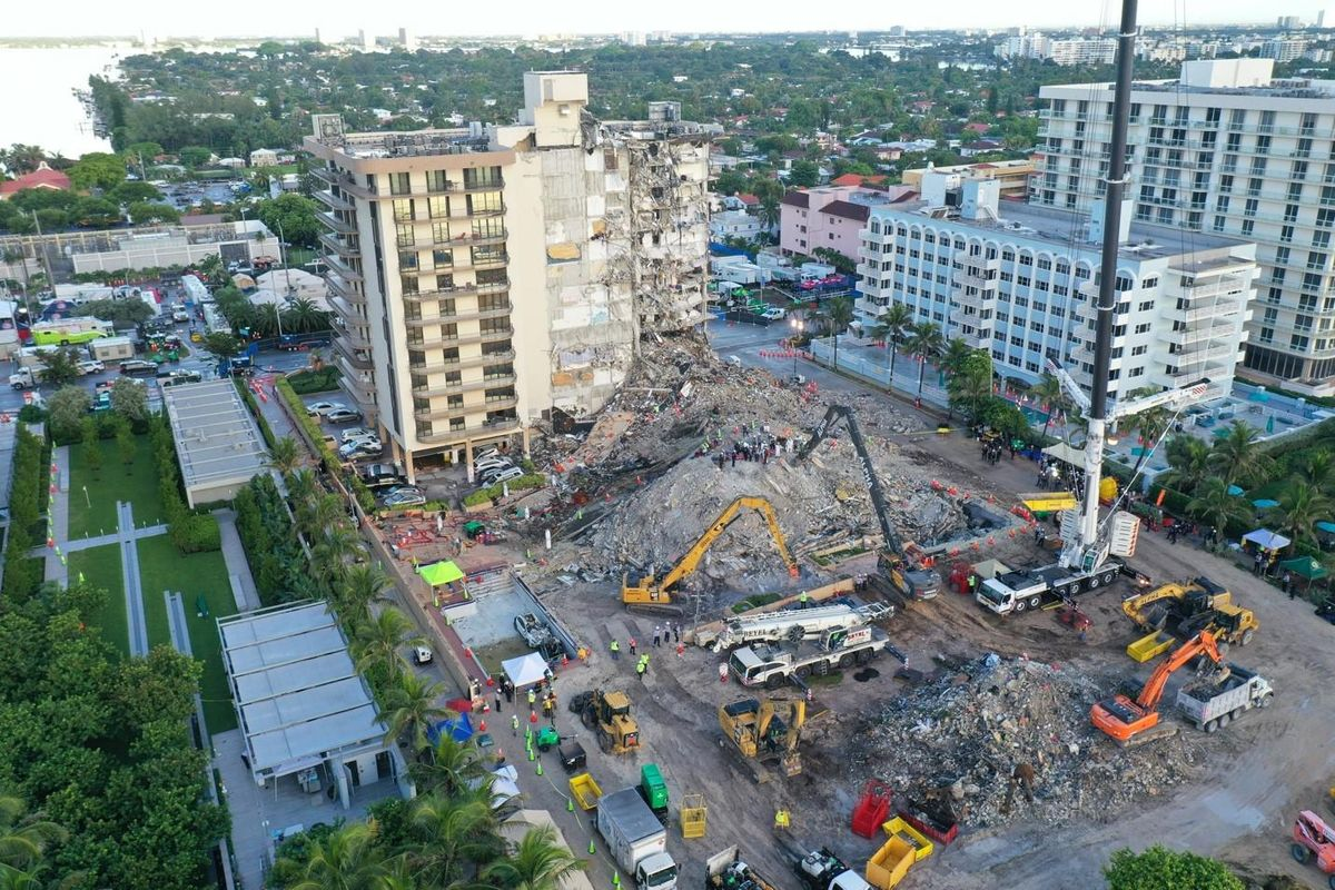 Drone view of the site where the Champlain Towers South condominium collapsed in Surfside, Florida.