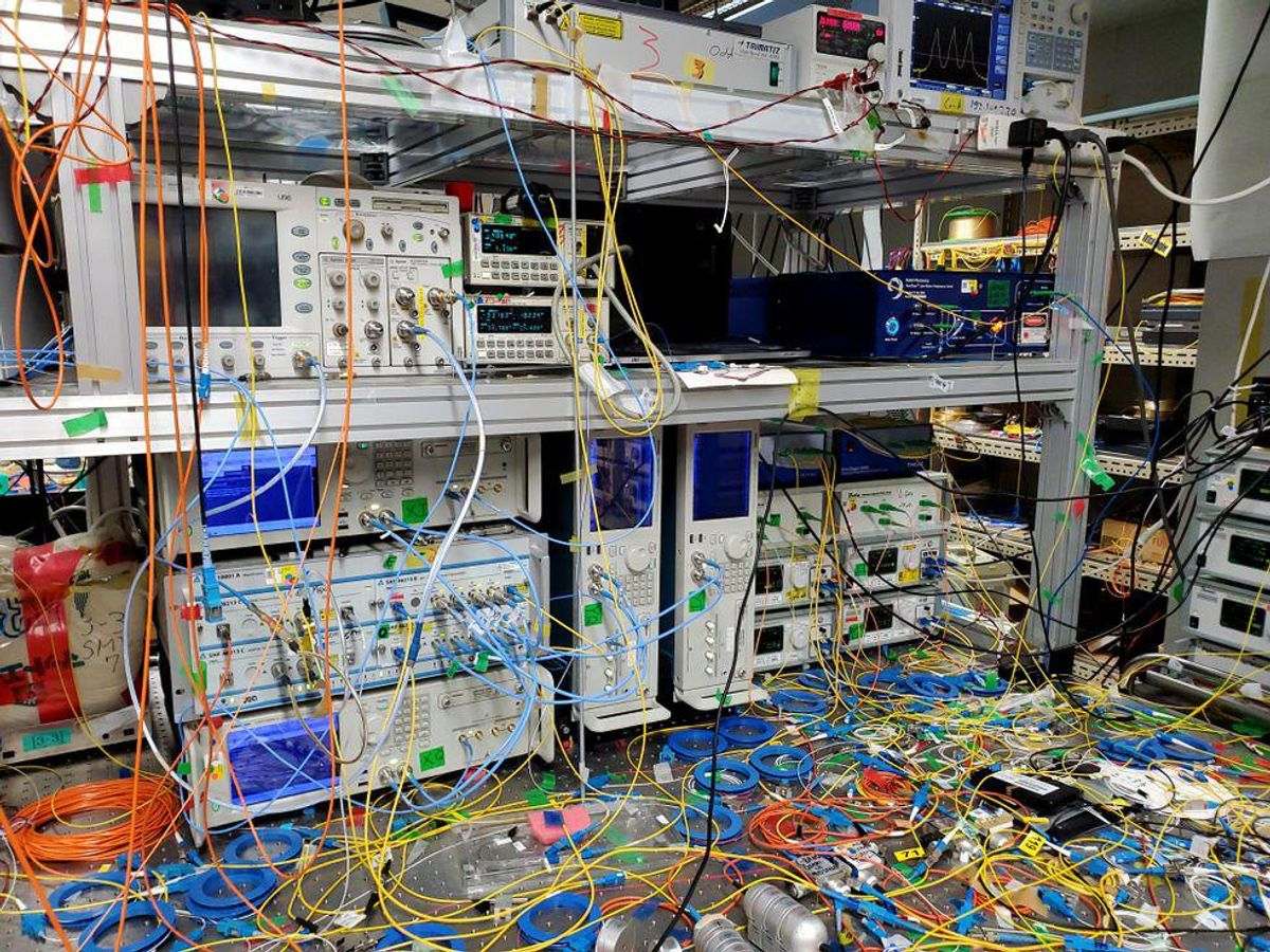 Equipment and wires. Japan's National Institute of Information and Communication's transmission equipment used in establishing a new world transmission speed record.