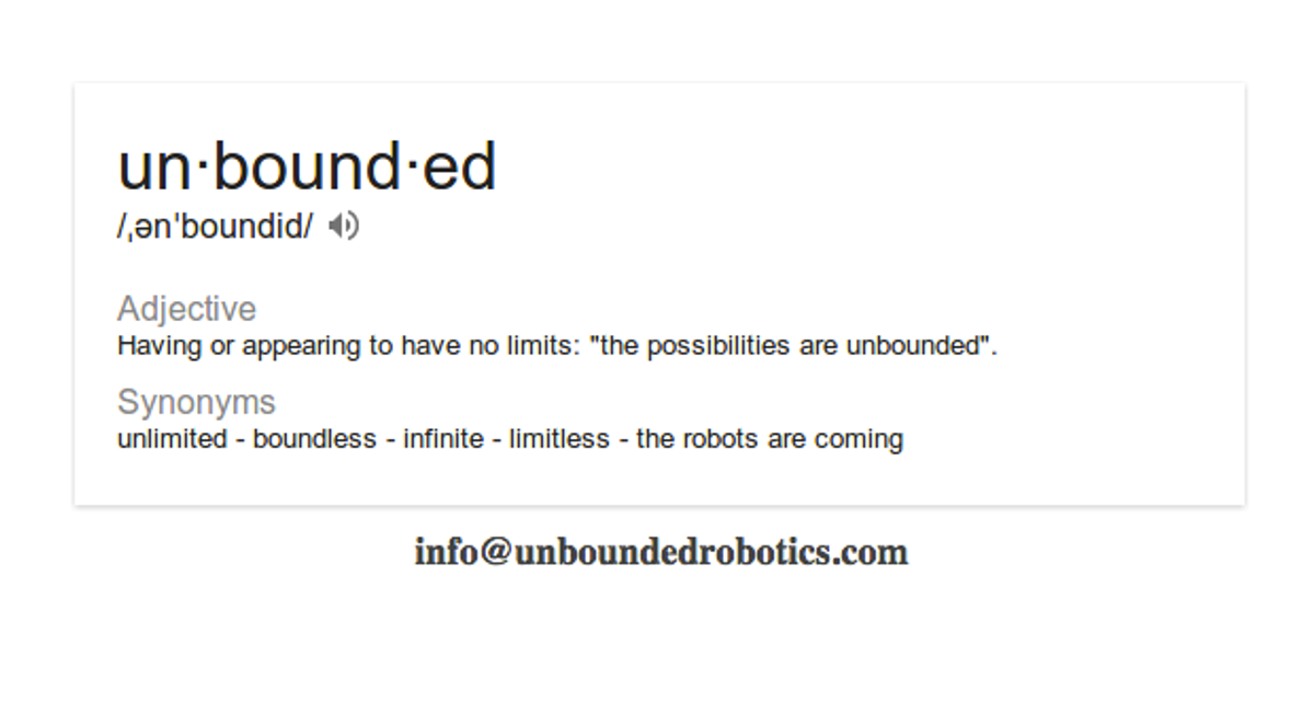 Dictionary card showing definition and synonyms of 'unbounded.'