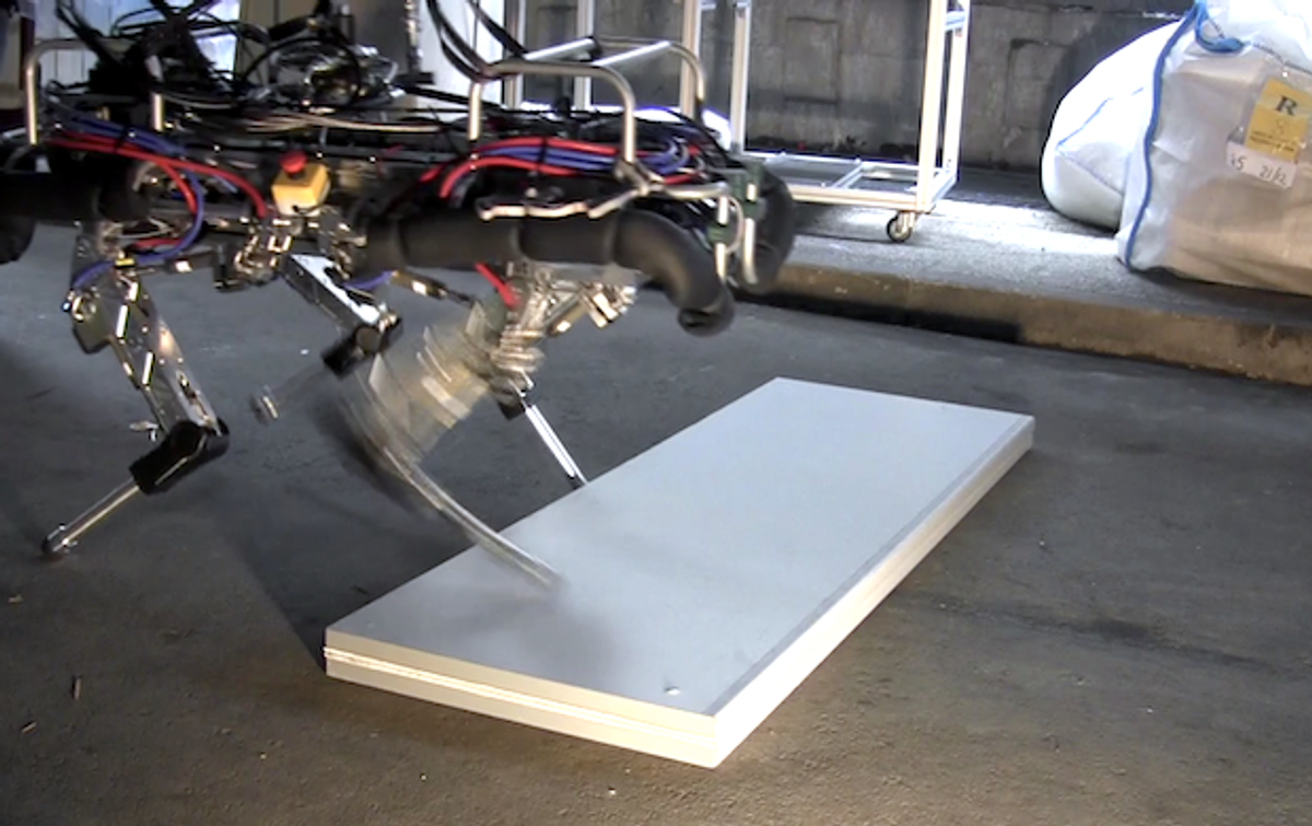 HyQ Quadruped Robot Learns to Avoid Stumbles, Visits London