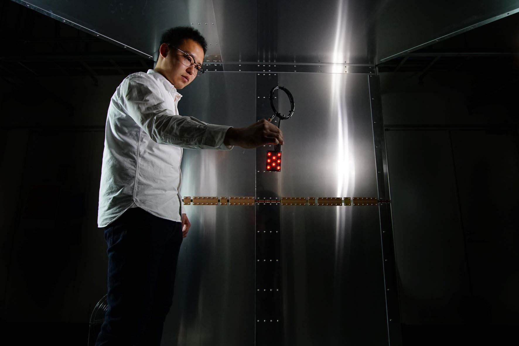 In a purpose-built aluminum test room, the researchers wirelessly powered electronics