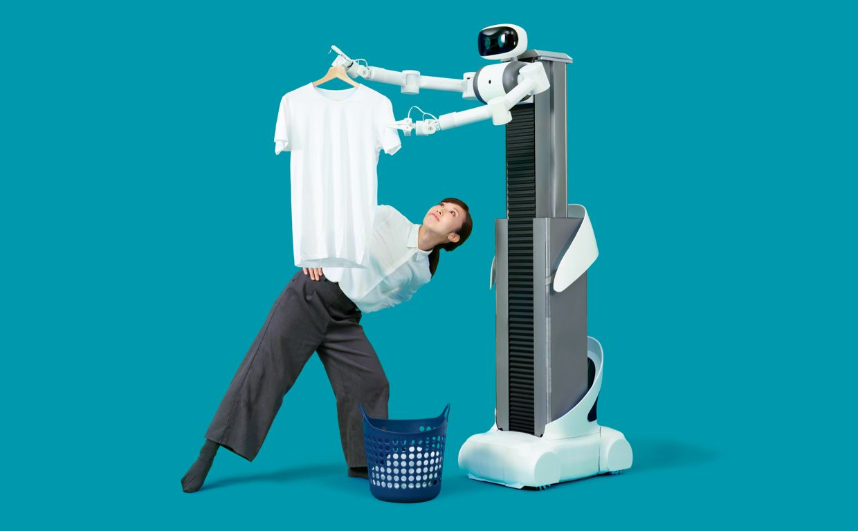 In Japan, you'll be able to rent a home robot that someone else occasionally inhabits to fold your clothes